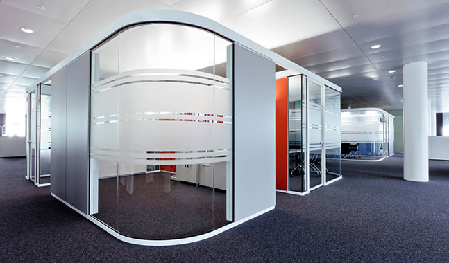 Office partitions, glazed partitions, phone booths, work rooms, meeting rooms